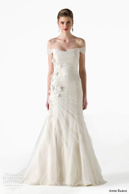 anne-barge-bridal-spring-2015-whisper-draped-tulle-mermaid-wedding-dress-off-shoulder-sleeves