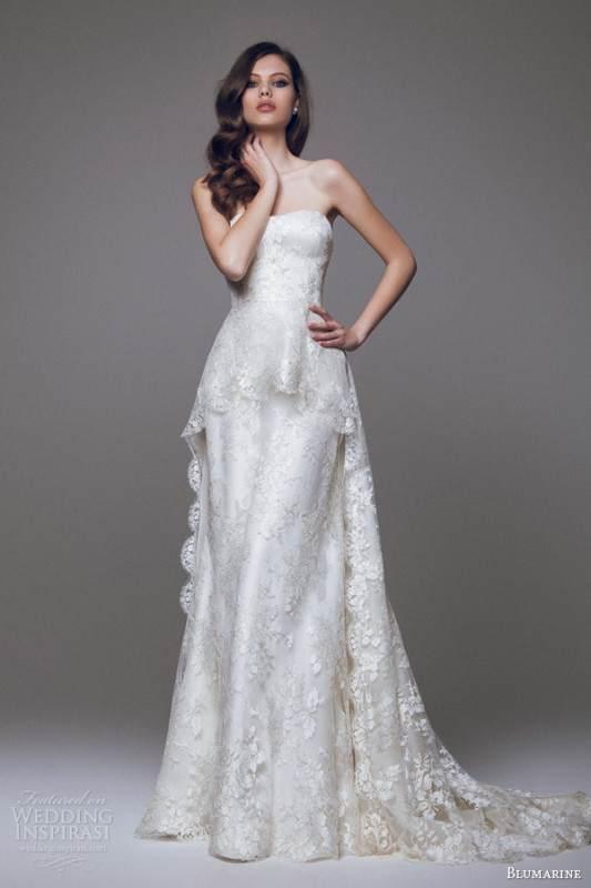 blumarine-2015-bridal-beautiful-strapless-wedding-dress-lace-peplum-over-skirt
