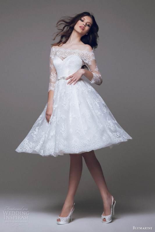 blumarine-bridal-2015-beautiful-short-wedding-dress-off-the-shoulder-lace-sleeves