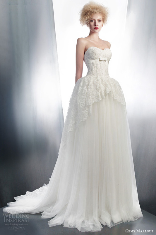 gemy-maalouf-2015-bridal-strapless-ball-gown-wedding-dress-lace-overskirt-style-4147
