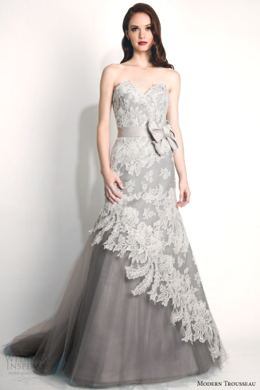 modern-trousseau-fall-2015-bridal-storm-strapless-french-alencon-lace-wedding-dress-oversized-bow-gray-tulle-skirt