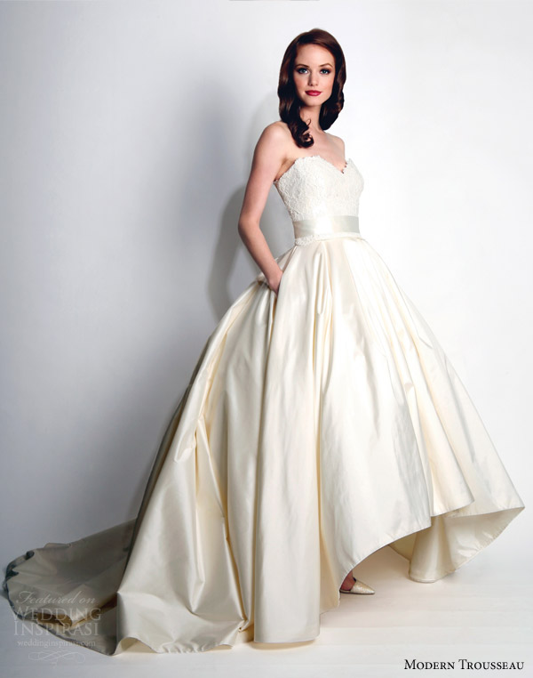 modern-trousseau-wedding-dresses-fall-2015-honor-strapless-ball-gown-high-low-hemline-skirt
